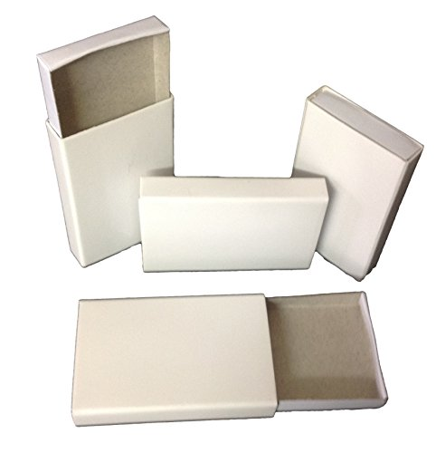 50 Plain White Cardboard Slide Tray Match Type Candy Storage Favor Boxes -