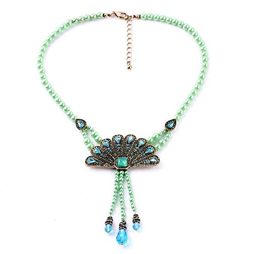 (QMM necklace Pendant Dotted Blue Feather Necklace Beads Chain Jewelry)