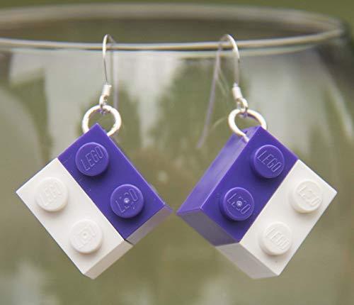 New York Universtity NYU Earrings STERLING SILVER Hooks Bobcat Handmade Jewelry NY University Purple and White Earrings