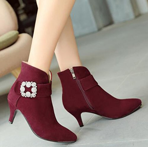 Stiletto Elegant Mid Ankle Wine Rhinestones Boots IDIFU Women's With Heels Red Zipper H5wnqnIt