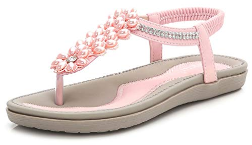 (Women's Summer Glitter Thong Flat Sandals, Pink Holiday T-Strap Flip Flops Bohemian Floral Rhinestones Jewels Comfy Elastic Back Strap Plus Size Cushioned Low Top Beach Wear Shoes Evening Party )