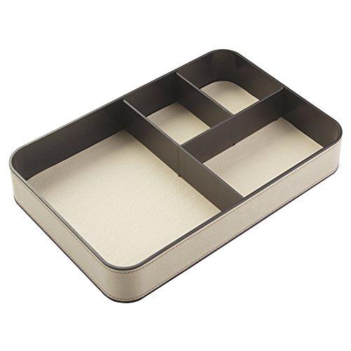 InterDesign Lauren Office Supplies Desk Organizer Tray for Calculators, Scissors, Pens, Pencils - 4 Compartments, Cream/Dark Brown, 12-Inch x 8-inch x 2-inch