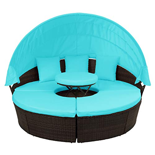 FLIEKS Outdoor Patio Round Daybed Furniture with Retractable Canopy and Coffee Table, Wicker Rattan Sofa Set Waterproof Cushions Backyard Lawn Garden Pool Porch (Blue Cushion) (Furniture Daybed)