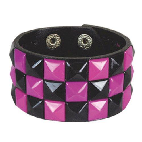 (Retro Black and Purple 3 Row Pyramid Studded Wristband)