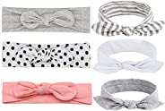 6pcs Cotton Baby Girl Headbands Elastic Baby Hair Bows for Toddler Infant