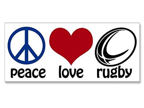Peace love rugby bumper sticker fun play rugger decal