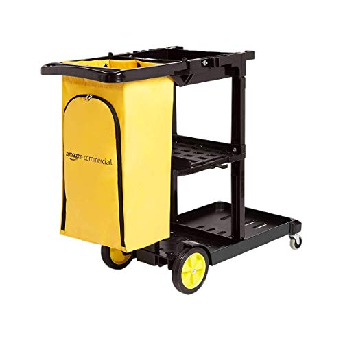 AmazonCommercial Janitorial Cart, Black (Renewed)