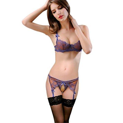 TIFENNY New Women Sexy Underwear Lingerie Open wide Underwear (Blue) (Sexy Outfits For Guys)