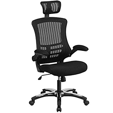 High Back Black Mesh Executive Swivel Office Chair with Flip-Up Arms and Chrome-Nylon Designer Base