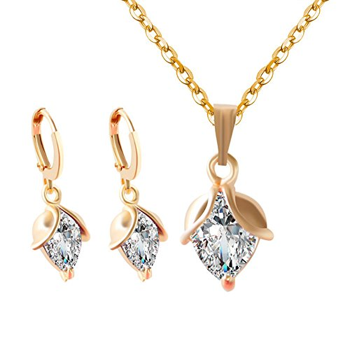 Yuhuan Womens Budding Flowers Zircon Pendant Gold Plated Chain Necklace and Earrings Jewellery Set … (White)