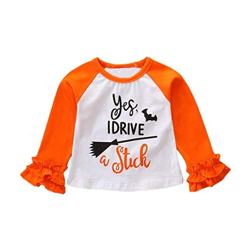 Clearance Sale Toddler Kids Halloween Party Clothes - vermers Baby Girl Long Sleeve Letter Print T Shirt Tops Outfit(4T, Orange) -