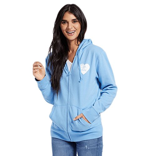 Life Is Good Womens Go-To Zip Hoodie Print Pattern Heart, Powder Blue, X-Large