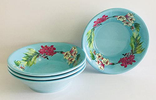 Pink Floral Soup Bowl - Set Of 4 | Turquoise With Pink & White Floral Design On Round 100% Melamine Serving | Cereal | Pasta | Soup Bowls | 8 inches x 2.75 inches