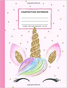 7.44 x 9.69 Unicorn Pink College Ruled Lined Pages Book Composition Notebook