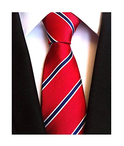 Red Mens Necktie - Secdtie Men's Classic Stripe Jacquard Woven Silk Tie Formal Party Suit Necktie (One Size, Red Blue)
