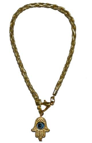 Gold Color Kabbalah String Bracelet Braided with Hamsa Eye ()