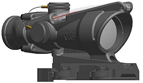 Gun Acog Combat Advanced Optical (Trijicon 4x32 ACOG with Red Horseshoe/Dot M855 Rco Reticle & Larue Tactical Lt799 Mount Riflescope)