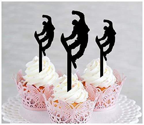 DWYHH Decoration Cupcake Topper Anniversary Wedding Birthday Party Snowboarding Silhouette 10 pcs