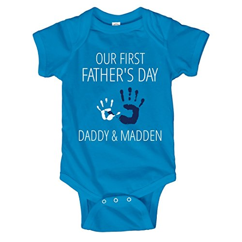 Father's Day Daddy & Madden Handprint: Infant Rabbit Skins Lap Shoulder Creeper