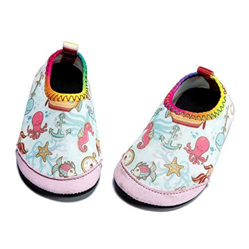 Panda Software Baby Boys Girls Water Shoes Infant Barefoot Quick -Dry Anti- Slip Aqua Sock for Beach Swim Pool Anchor/12-18 Months M US Infant