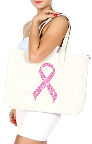 SERENITA Cotton Blend Canvas Tote Shoulder Bag PINK RIBBON