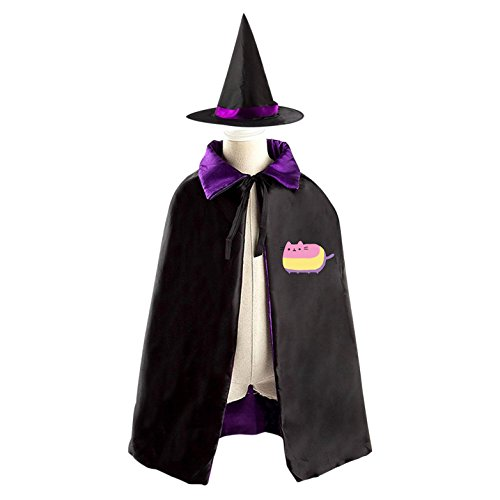Picachu Costumes (Pink Pusheen Cat Witch Cloak Reversible Cosplay Costume Satin Cape Boys Girls Red)