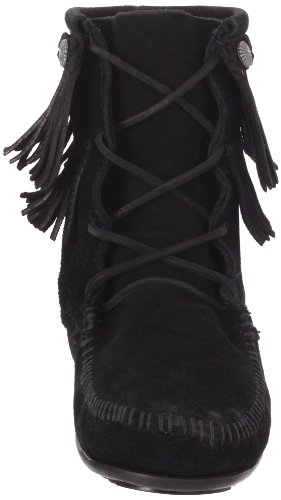 Tramper Schwarz 623 Stiefel Boot Double Fringe Minnetonka Damen O1qS6xw