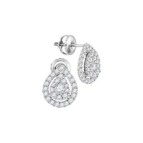 Womens 14K White Gold Tear Drop Pear Genuine Diamond Stud Earrings 3/4 CT (I1 clarity; G-H color) - I1 Pear Earrings