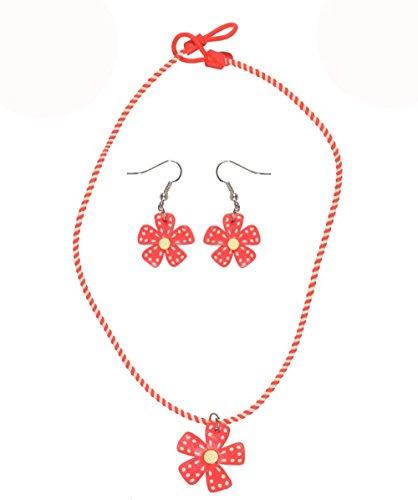 Bisutería infantil de plástico, multicolor–Collar y Pendientes–flor–rojo