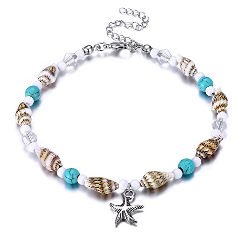Fesciory Women Starfish Turtle Anklet Multilayer Adjustable Beach Alloy Ankle Foot Chain Bracelet Boho Beads Jewelry(Shell Starfish)
