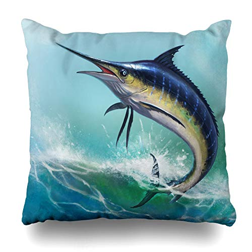 (Ahawoso Throw Pillow Cover Swinging Fish Blue Marlin Ocean White Sailfish Swordfish Sea Striped Water Pillowcase Square 20 x 20 Inches Home Decor Cushion Case)
