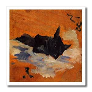 ht_163323_1 Florene Henri De Toulouse Lautrec - Image of Small Black Dog On Orange Covers - Iron on Heat Transfers - 8x8 Iron on Heat Transfer for White Material
