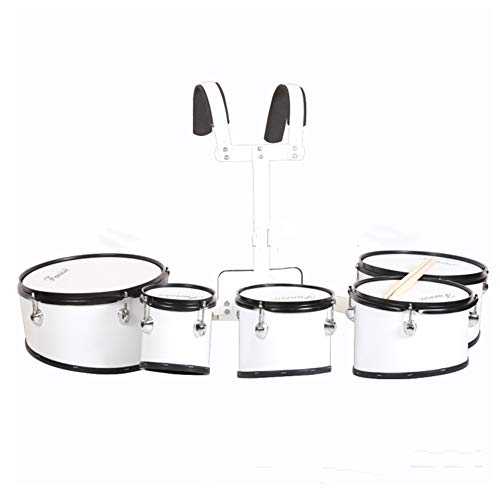 5pcs white junior student marching tom drum set with ()