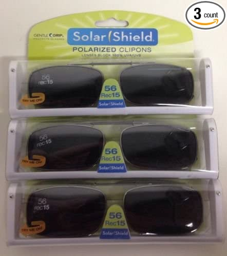 0adced10873 3 SOLAR SHIELD Clip-on Polarized Sunglasses Size 56 rec 15 Black Full Frame  NEW