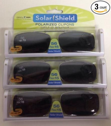 e80e8a8e27 3 SOLAR SHIELD Clip-on Polarized Sunglasses Size 56 rec 15 Black Full Frame  NEW