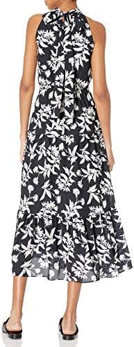 Sam Edelman Women's High Neck Maxi Dress, Black/White, 12