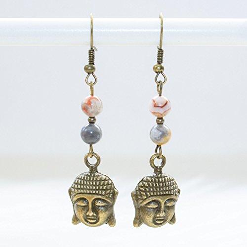 Dainty Buddha Earrings - Natural Agate Gemstone Unique Spiritual Healing Jewelry - Handmade in Phoenix, AZ (Buddha Jewellery)