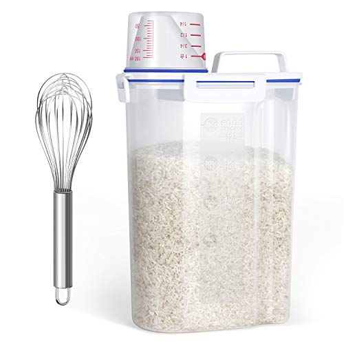 Rice Storage Container with a Stainless Steel Whisk – Cereal Dispenser Bin with Easy Pouring Spout + Measuring Cup + 5.5 lb Capacity, Airtight Dry Food Container for Pantry Storage Organization