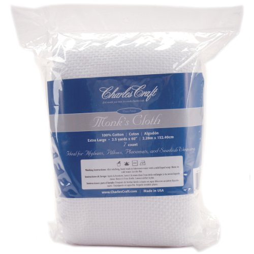 DMC HF4462-6750 Cotton Monk's Aida Cloth, 2.5-Yard, White, 7 Count -