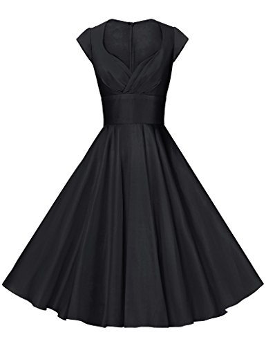 GownTown Womens Dresses Party Dresses 1950s Vintage Dresses Swing Stretchy Dresses, Black, Medium - Black 50s Dress