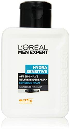 L'Oréal Men Expert After Shave reparierender Balsam Hydra Sensitiv Feuchtigkeitsfluid für 24h Feuchtigkeit / Aftershave Balsam für sensible Haut (dermatologisch getestet, ohne Alkohol) 1 x 100 ml