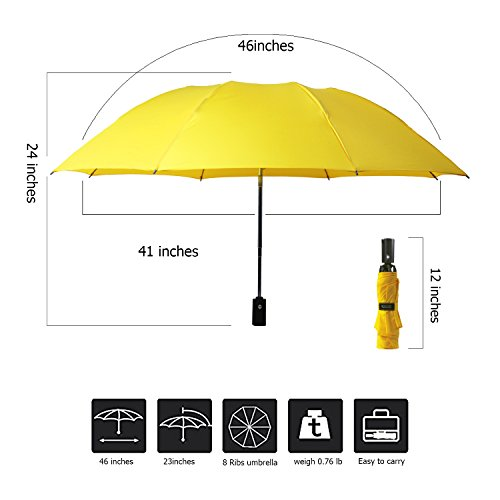 YUSOO Automatic Compact Travel Umbrella with Reverse,210T Auto Open Close Folding Strong Windproof UV Umbrella For Women Men,Yellow by YUSOO (Image #4)