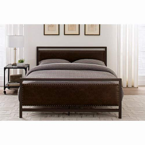 DHP Vintage Metal and Upholstered Bed Frame, Queen Size - Brown