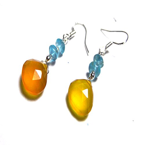 Golden Tears Chalcedony /Blue Topaz Drop Earrings (Chalcedony Topaz Earrings Blue)