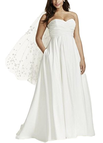 Taffeta Gown Wedding White - Veilace Women's Strapless Ruched Bodice Empire Waist Wedding Dress Silk Taffeta Bridal Gowns
