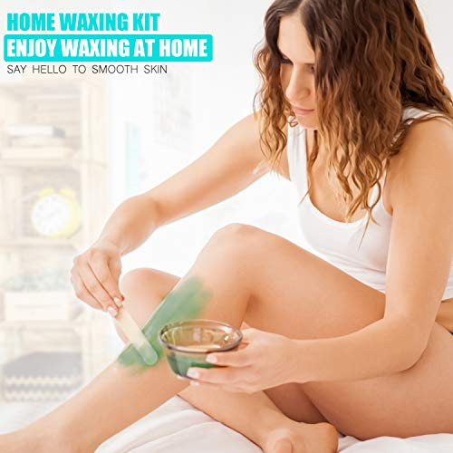 Crskiy Waxing Kit, Wax Kit for Women and Men, Hair Removal Kit with 4 Bags Multiple Formulas Hard Wax Beans, 20 Wax Applicator Sticks, Home Wax Warmer for Brazilian, Legs, Face, Underarm, Bikini