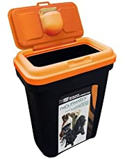 PET FOOD STORAGE CONTAINER BLACK HOLDS 15 25 KG. ORANGE LID RUBBER AIRTIGHT SEAL