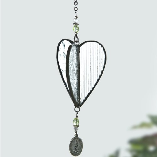 J Devlin Orn 231 Glass Dimensional Heart Ornament Window Sun Catcher in Clear Textured Glass with Dream (Beaded Heart Ornament)