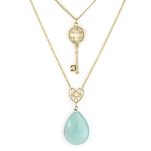 United Elegance - Stylish Dual Strand Gold Tone Necklace with Faux Jade Pendant & Swarovski Style Crystals (Gold/Jade) (Swarovski Necklace Jade)