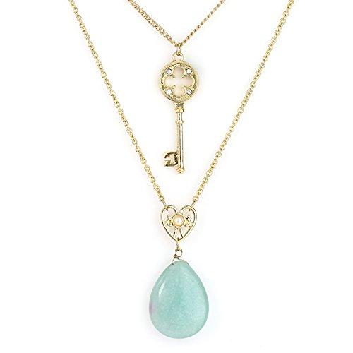 United Elegance - Stylish Dual Strand Gold Tone Necklace with Faux Jade Pendant & Swarovski Style Crystals (Gold/Jade) (Jade Necklace Swarovski)